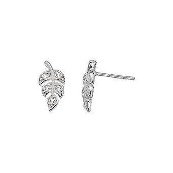 Dagg Sterling Silver bana blad Cubic zirconia stud örhängen 3513CZ018