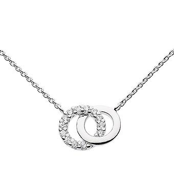 Dew Sterling Silver Double Cubic Zirconia Circle 18 Necklace 9819CZ022