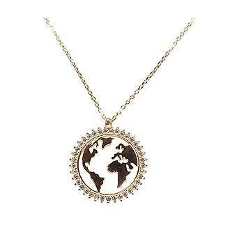 14 carat world map pendant with necklace