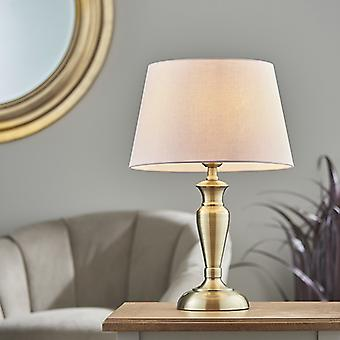 Lámpara de mesa de latón antiguo placa y algodón rosa 1 luz IP20 - E27