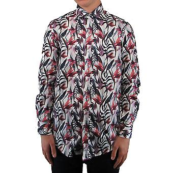 White & Purple Abstract Floral Print Shirt