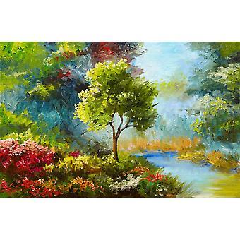 De muurschilderingbloemen en de bomen van de muur door rivier