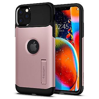 iPhone 11 Pro - SPIGEN Slim Panssarin kuori jalustalla - Ruusukulta