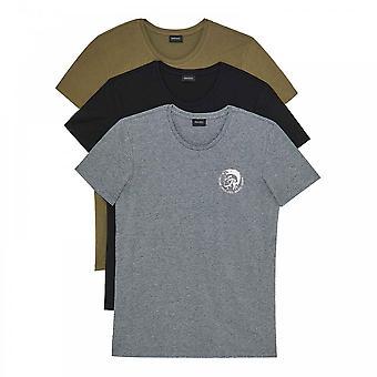 DIESEL UMTEE Randal 3-Pack Crew Neck T-Shirt, Black / Grey / Green, XX-large