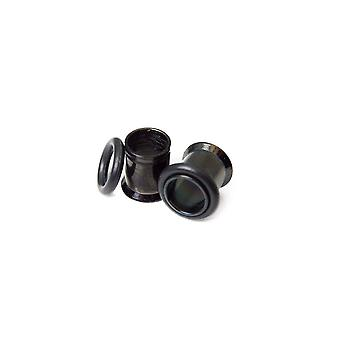 Black i.p. plugs surgical steel 0 gauge single flared ear tunnels with o-ring