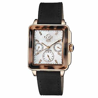 Gv2 By Gevril Women's 9225.3 Bari-Tortoise Diamond MOP Dial Black Suede Watch