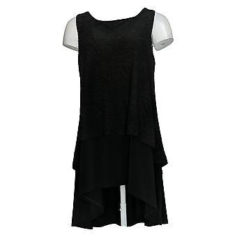Dennis Basso Women'top sleeveless Hi-Low Knit Tunic Black A376940
