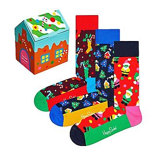 Happy Socks 3-Pack Skarpety świąteczne Piernik Dom Gift Box