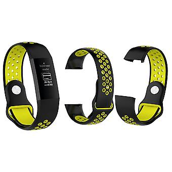 Aquarius FitbitCharge 3 SiliconeReplacement WatchStrap Band - Large,Black/Yellow
