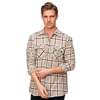 Men Shirt Checked Urban Outwear Flannel Lumberjack Slim Fit Round Hem Casual