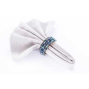 Obrúsky prsteň korálkové teal / Gold - sada 4 kusy