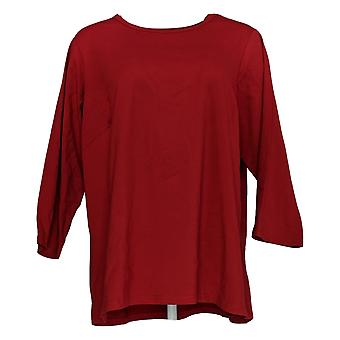 Bob Mackie Women's Plus Top Essential 3/4-Sleeve Knit Top Red A365877