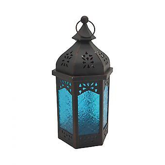 Rebecca Furniture Ethnic Lantern Glass Metal Blue Black Interior Exterior 32x16x14