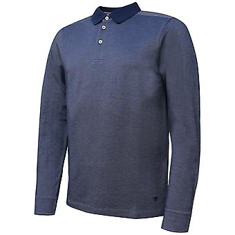 Hackett Mens Oxford Pique Long Sleeved Polo Shirt Navy T-Shirt HM550781 561