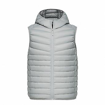Men Lightweight Hooded Down Vest Zip Pocket Puffer Vest Waterproof Winter