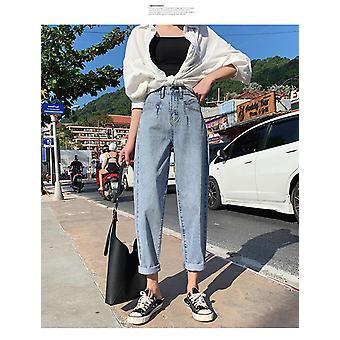 女性ハイウエストジーンズプラスサイズジャンフェムルーズハーレムママジーンズ