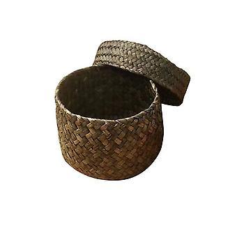 Handmade Bamboo Storage Basket - Snack Wicker Rattan Seagrass Belly Garden