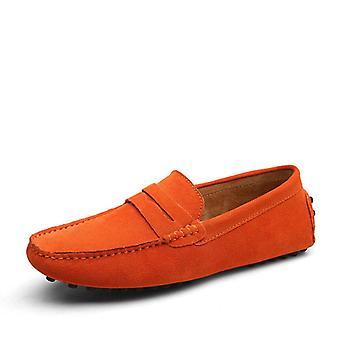 حجم كبير 50، المتسكعون المتسكعون الناعمة Moccasins، أحذية جلدية أصلية والشقق الدافئة