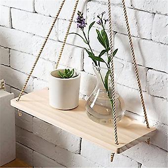 مصنع الوقوف قسط خشبي سوينغ حبل، الجدار شنقا الرفوف العائمة / النبات