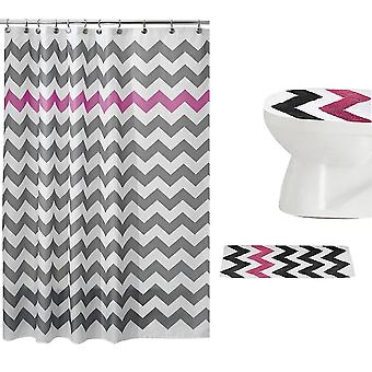 Wave geometric shower curtain set 3 Piece