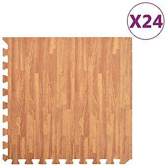 Floor Mats 24 Pcs Wood Grain 8.64 銕?eva Foam