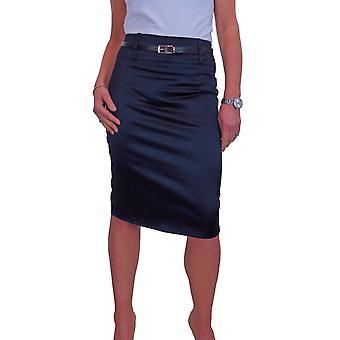 Women's Stretch Satin Below Knee Bodycon Pencil Skirt 8-18
