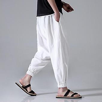 Χαλαρά περιστασιακά men's βαμβακερά λινά κάπρι-παντελόνια, Χαρέμι Beam, Πόδια Πολεμικές Τέχνες