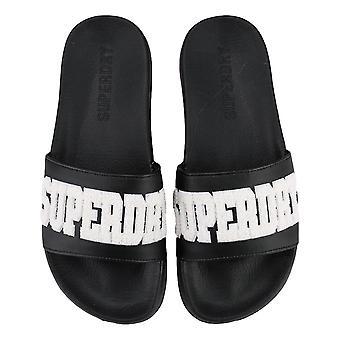 Superdry High Build Logo Pool Sliders - Black