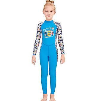 Kids wetsuit long sleeve one piece uv protection thermal swimsuit dfse-12