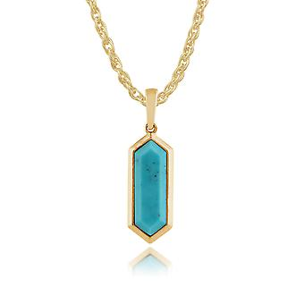 Geometric Hexagon Turquoise Prism Drop Pendant Necklace in Gold Plated 925 Sterling Silver 271P012301925