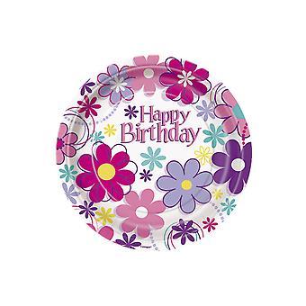 8 Petites assiettes en carton Happy Birthday 18 cm