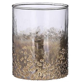 windlicht Winter 15 x 12 cm Glas gold