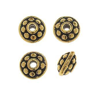 TierraCast Zinnperle, Perlenabstandhalter 7mm, 4 Stück, Antik vergoldet