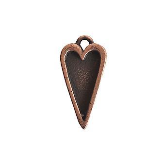 Nunn Design Bezel Charm, Itsy Heart 10x20mm, 1 pièce, cuivre antique