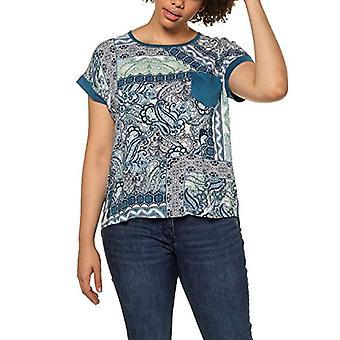 ULLA POPKEN Gro and Gro en Shirt mit Brusttasche und Gepatchten Prints, Oversized T, Turquoise (Ocean Blue 72729874), 50-52 Woman