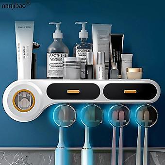 Distributeur de dentifrice de 41 cm Support de brosse à dents antibactérienne murale | Porte-brosses à dents