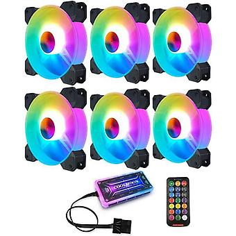 Computer Case Pc Cooling Fan Rgb Adjust Quiet + Ir Remote