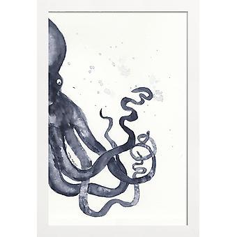 JUNIQE Print - Bläckfisk - Kraken Affisch i Blått & Vitt