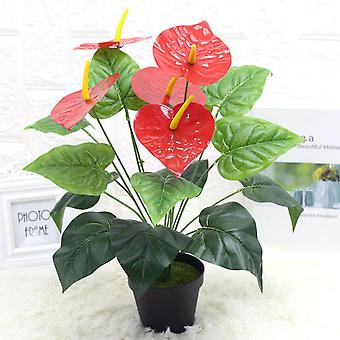 Keinotekoinen kasvi 18 pään anthurium andraeanum lind muovi fake vihreät kasvit 3kpl