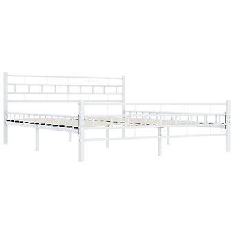 vidaXL Bettgestell Weiß Metall 160×200 cm