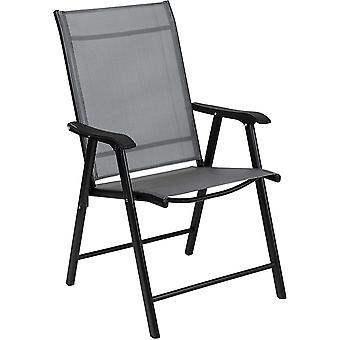 Tuinstoelen set - 2 inklapbare stoelen grijs