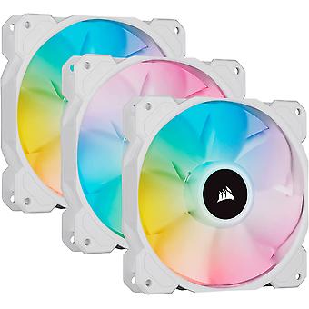 Corsair iCUE SP120 ELITE Performance 12cm PWM RGB Case Fans x3, 8 ARGB LEDs, Hydraulic Bearing, Lighting Node CORE Included, White