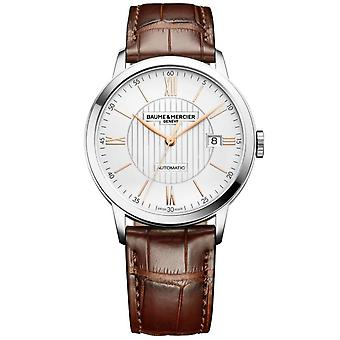 Baume & Mercier M0a10263 Classima Silver And Brown Leather Automatic Men's Watch