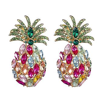 Earrings Pineapple Tropical Fruit Diamond Acrylic Colorful Crystals For Festival