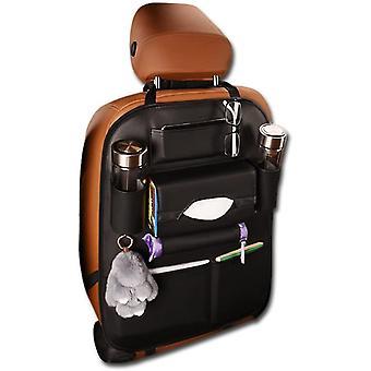Car Seat Back Organizer Travel Bag Storage Multi-pocket Pu Leather Back Seat Protector(Black)