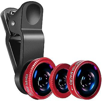 Universal Clip Lens 3 In 1 Fish Eye Wide Angle Camera Lens Kit Macro Lentes For Smart Phones(Red)
