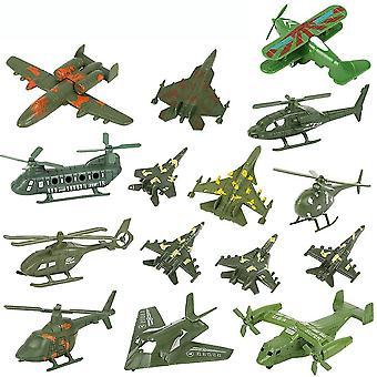 15pcs World War 2 Armee Flugzeuge Spielzeug mit Hubschrauber-Kämpfer Schlachtfeld Figuren