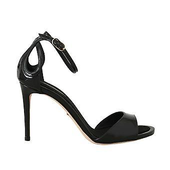 Black leather stiletto sandals shoes