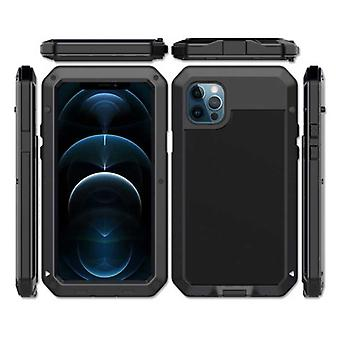 R-JUST iPhone 12 360° Full Body Case Tank Cover + Screen Protector - Shockproof Cover Metal Black