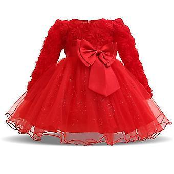 Baby Girls Květinový křest Princezna šaty červené 0-6 měsíců